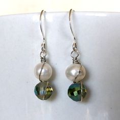 White Pearl and Green Crystal Earrings, Real Pearl Earrings, White and Green Earrings, Wire Wrap Earrings, Customizable by SaltwaterDaydreams on Etsy
