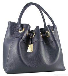 Blue Handbag in Italian Leather