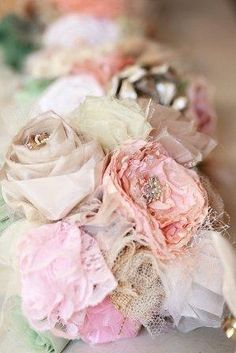 #Fabric #Wedding #Bouquet #vintage #upcycled #recycled #lace #burlap #pink #dusty #ivory #sage #taupe #custom #handmade
