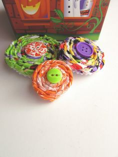 Halloween Rosettes Fabric appliques Button flowers by Itsewbella
