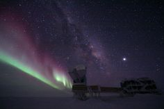 with the aurora in the background