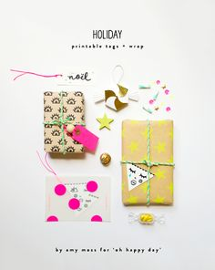 DIY Gift Wrapping Ideas Free printable tags and wrap from Oh Happy Day! Wrapping Ideas, Gift Wrapping, Holiday Gift Tags, Gift Tags Printable, Pretty Packaging, Christmas Wrapping, Christmas Diy, Merry And Bright, Paper Goods