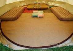 Upgrade your glamping experience with our premium quality, hardwearing carpets. Luxurious Tipi Tent, Emperor Tent, and Bell Tent coir matting inside. Bell Tent Camping, Camping Glamping, Camping Tools, 5m Bell Tent, Lotus Belle Tent, Tent Living, Floor Insulation, Tent Accessories, Tent Decorations