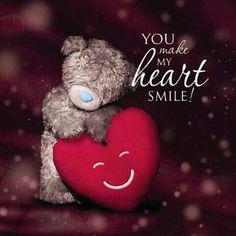 ♡ YOU make my heart really smile!! XOXO's Teddy Bear Quotes, Teddy Bear Images, Teddy Bear Cartoon, Teddy Bear Pictures, Cute Teddy Bears, Hug Pictures, Tatty Teddy, Daughter Birthday Cards, Husband Birthday
