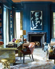 Gambrel does it again. Look at the eye candy everywhere. Perfectly collected and a beautiful balance of old and new. 💙💙💙💙 Project By: @Steven Gambrel 📸: Unknown #thevibrantinterior #andreaschumacherinteriordesigner #denverinteriordesigner #santabarbarainteriordesigner #palmbeachinteriordesigner Dark Walls, Beige Walls, Gray Interior, Interior Design, Most Popular Paint Colors, Lime Green Walls, Light Gray Paint, Gambrel, Aesthetic Design