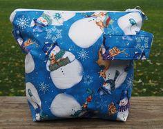 Snowman Medium Zippered Knitting/Crochet by PrairieBagStudio