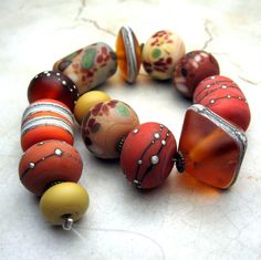 Organic Lampwork Glass Bead Set ~ Italian Harvest #etsy
