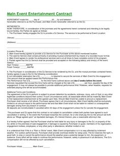 entertainment contract agreement images d j contracts