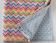 baby blanket  rainbow zig zag with blue minky by sewquiltmom, $32.00