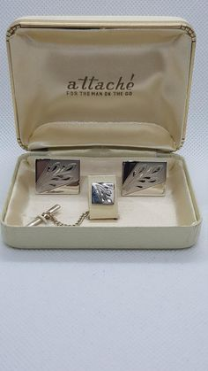 1dcc1147fae8 Vintage Attaché Designer Cuff Links And Tie Tack Sterling Silver Hand  Engraved Cufflinks with Original Box Set