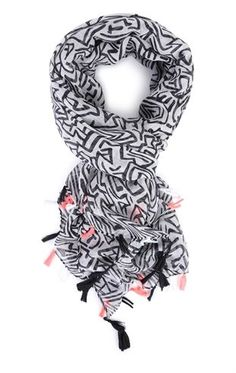 Deb Shops Printed Woven Scarf with Colored Fringe $6.00