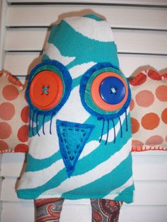 SALE Turquoise bird /  fabric toy / stuffed by Gizabelle4kids, $25.00