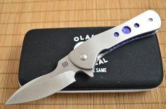 "Olamic Cutlery ""Gambit"" Serge Panchenko Design, Liner-Lock Flipper, Full Titanium, Anodized Blue Liners"