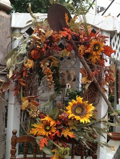 Fall Wreath of vines & silk flowers for outside decorating