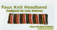 Faux Knit Headband Free Crochet Pattern