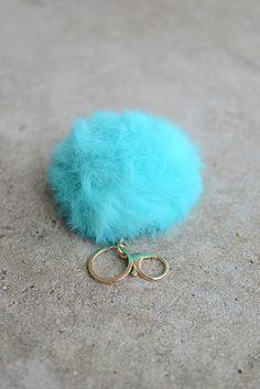 Pom Pom Fur Keychain - Aqua