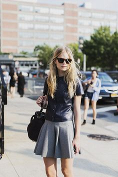 love this silhouette: swingy skirt and boxy top