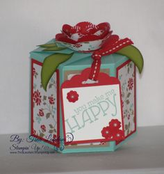 Gift Box using Stampin' Up! Cardstock, & DSP, with a flower made using Stampin' Up! Spiral FLower die, and Scalloped Tag Topper punch.