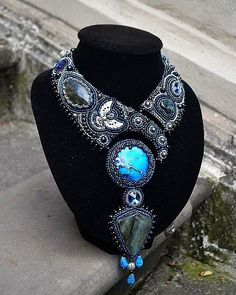 Beautiful jewelry with blue Sediment Jasper Beautiful jewelry with blue Sediment Jasper Bead Embroidered Bracelet, Bead Embroidery Jewelry, Beaded Embroidery, Seed Bead Necklace, Beaded Earrings, Beaded Jewelry, Fashion Necklace, Fashion Jewelry, Jewelry Art