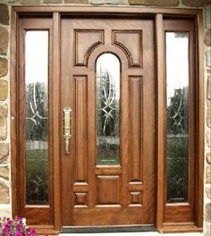 Custom Entrance Door and Sidelites - Discover home design ideas, furniture, browse photos and plan projects at HG Design Ideas - connecting homeowners with the latest trends in home design & remodeling Home Door Design, Wooden Main Door Design, Door Design Interior, Wood Front Doors, Arched Doors, Wooden Doors, Modern Entrance Door, Entrance Doors, House Front Door