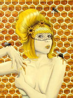 """This sexy pin-up girl is the Queen of the Honey Bees. Nectar drips from her lips as she poses with her furry flying friends. She represents Apiphilia, a sexual or romantic attraction to bees.  This is an 8x10"""" print of my original acrylic painting """"Apiphilia"""", from the Phobophilia series. It is..."""