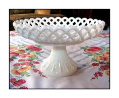 Lace White Milk Glass Stand. If I had this, I would always have a cake to go with it.  I don't think my other half would mind.