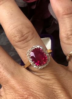 Engagement ring- Victorian Yellow Gold Ruby and Rose Cut Diamond Halo Ring (Vintage) * Katie Callahan & Co.
