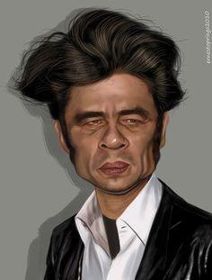 Caricatura de Benicio del Toro.