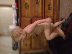 Runaway naked baby