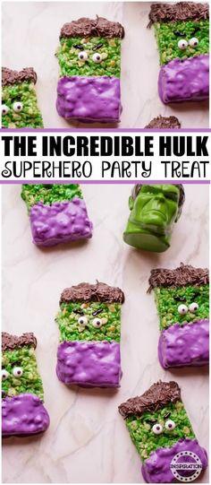 The Incredible Hulk Party Treats I remember watching The Incredible Hulk as a child.#recipe #Theincrediblehulk #ricekrispies #Hulk #Avengerspartyfood #avengersmovie #avengerspartyideas #partyideas #partyfood #funfood #themedfood #superheros #superherofood