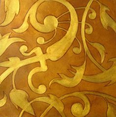 faux gold stencil wall