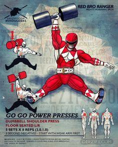 shoulder exercise: floor shoulder press with power ranger