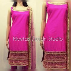 Here it is.. Barbie pink pure silk pajami suit paired with a baby pink sequins…