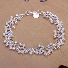 Exquisitos pulseras de bronce de uva para las mujeres, con broches de langosta, plata, 190 mm al por mayor - Es.Pandahall.com