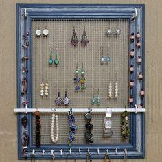 Jewelry Organizer 14 Useful DIY Ideas for Jewelry Stand, Picture Frame Jewelry Organizer - Frame Jewelry Organizer, Diy Jewelry Holder, Homemade Jewelry Holder, Diy Jewelry Stand, Diy Earring Holder, Bracelet Holders, Jewelry Hanger, Diy Jewelry Unique, Diy Jewelry To Sell