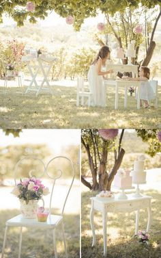 high tea party - flowers on brides chair