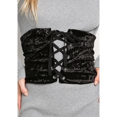 Black Crushed Velvet Lace Up Corset Belt ($75) ❤ liked on Polyvore featuring intimates and shapewear