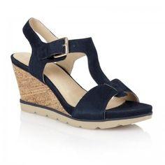 Womens Mirror Navy Suede T Bar Wedge Sandal Suede T Bar Wedge Sandal with Adjustable Ankle Strap