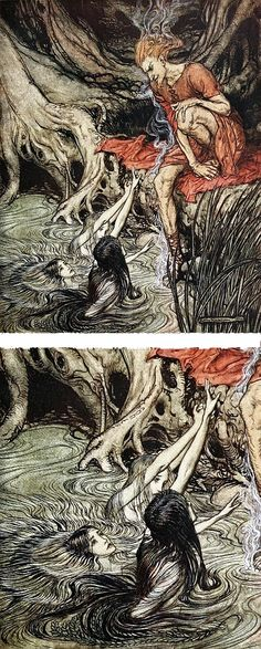 """The Rhine's pure-gleaming children / Told me of their sorrow"" ~ artist Arthur Rackham, from ""The Rhinegold and the Valkyries,"" p.28, pub.1910. Derived from ""Das Rheingold,"" the first of the four operas that constitute Richard Wagner's ""Der Ring des Nibelungen."" Rackham was a brilliant artist & illustrator. #art #illustration"
