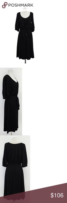 """Theory- Black Gathered Waist Dress Sz M Black jersey dress with elastic waist and bow for comfort and style. Size Medium Body 95% Viscose 5% Elastane Slips on Scoop neckline Gathered waist Puff cropped sleeves Shoulder to Hem 43.25"""" Simple yet so classic, Theory pieces are some of the best to accessorize with simple, elegant, form that flatter any body type along with solid colors sometimes broken up in strategic ways to flatter the body. Theory Dresses Dresses"""