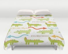 Alligator Duvet, Alligator Comforter, Crocodile Duvet, Crocodile Comforter, Alligator Bedding, Boys Duvet Cover, Kids Duvet Cover, Reptiles by peppermintcreek. Explore more products on http://peppermintcreek.etsy.com