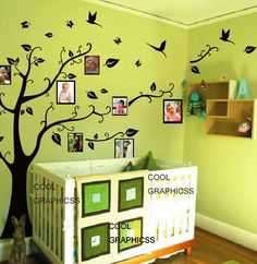 wall decal children wall decal office vinyl wall sticker wall decal bedroom Art Wall Hanging Mural -Tree with picture frames. $65.00, via Etsy.