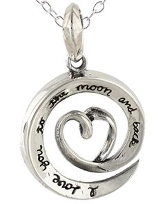 Sterling Silver I Love You to the Moon and Back Heart Necklace 18 Inch Chain >>> More info could be found at the image url.