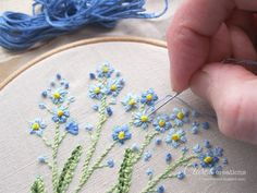 Forget me nots #embroidery #handembroidery #lavendersachet #lavenderpillow…