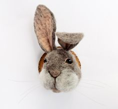 miniature rabbit wall mount by fauxfauna on Etsy