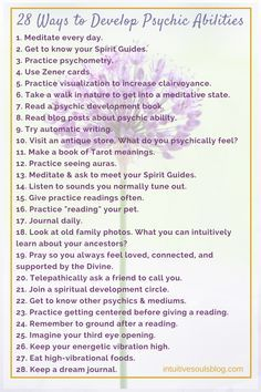 There are lots of ways to develop your psychic and mediumship abilities. Here's a list of some of the different ways that you can practice opening up your gifts. :) Read the full post with explanations here: 28 Psychic Development Tips Wiccan Spell Book, Witchcraft For Beginners, Wicca For Beginners, Psychic Development, Spiritual Development, Tarot Learning, Psychic Mediums, Tarot Spreads, Book Of Shadows