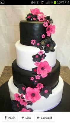 Hot Pink and Black Wedding — Round Wedding Cakes Round Wedding Cakes, Black Wedding Cakes, Beautiful Cakes, Amazing Cakes, Pink Black Weddings, Rose Fushia, Orange Flowers, Cake Central, Decoration Originale