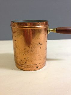 Industrial Vintage Retro Copper Cooking Pot with a Handle