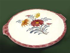 kuchenplatte vintage : ... .dawanda.com/product/54344683-Kuchenplatte-mit-Blumen-vintage-Keramik