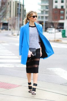 Tibi coat and shoes, French Connection top and skirt